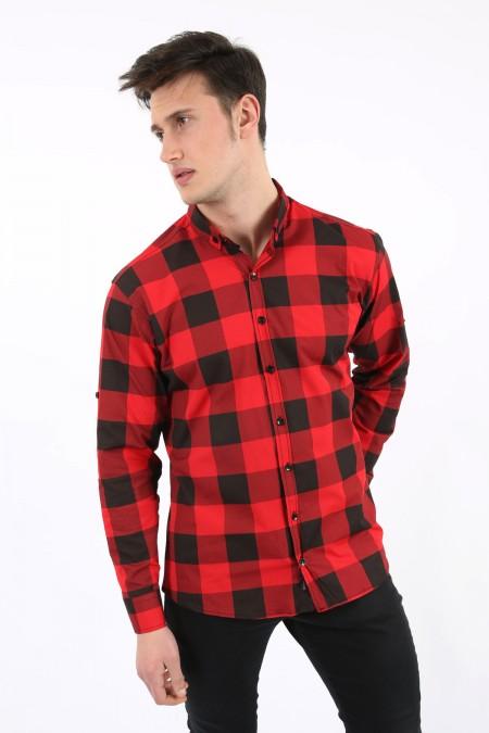Büyük Kareli Kırmızı Gömlek