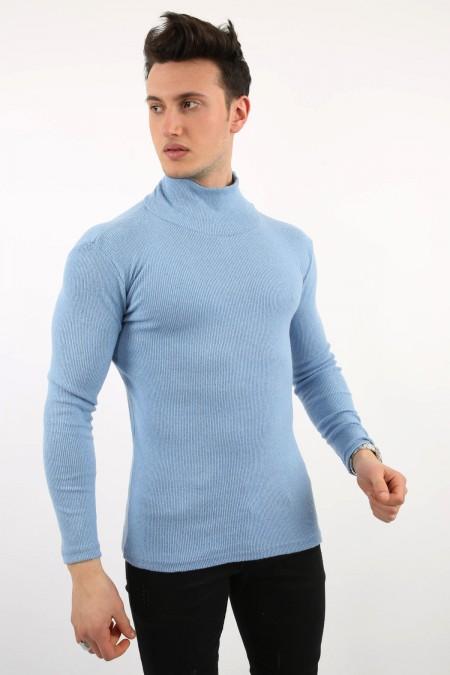 Mavi Boğazlı Sweat